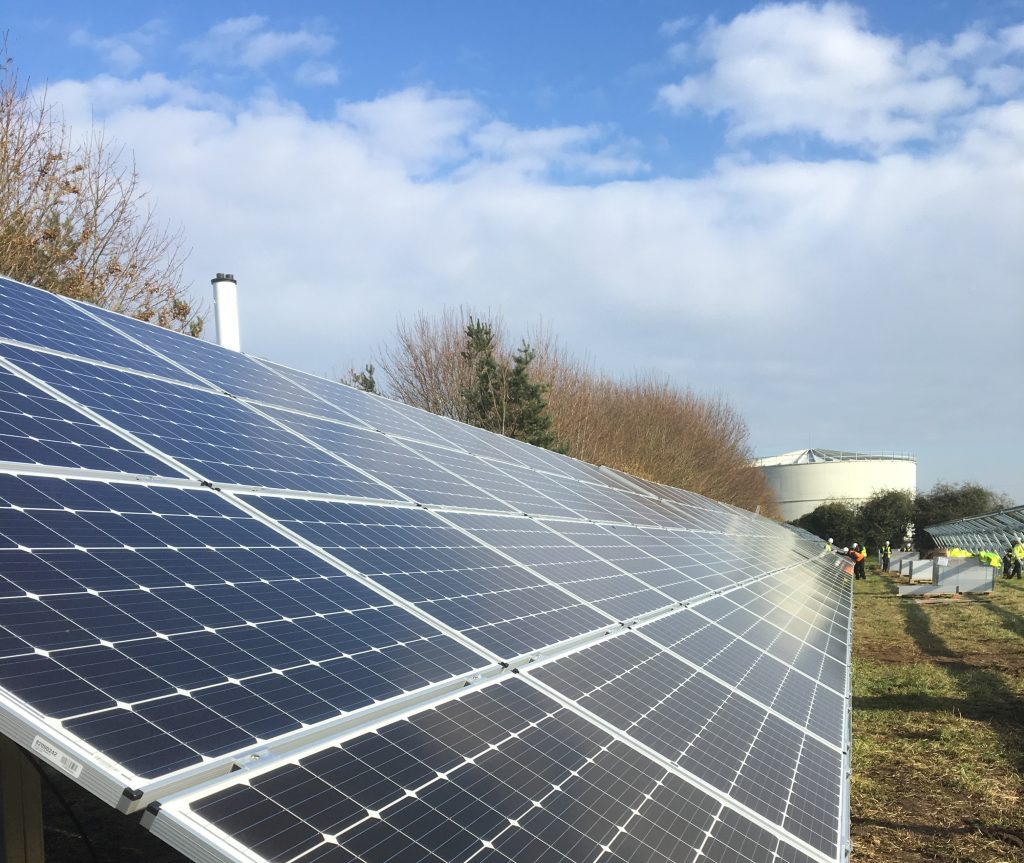 CHP plant and solar panels at Briar Chemicals generating low carbon energy